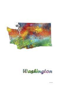 Washington State Map 1 by Marlene Watson
