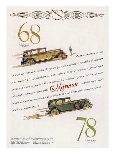 Marmon 68 and 78 Offered to the Discrimating Italian Buyer - a Mafia Godfather, Maybe--Giclee Print