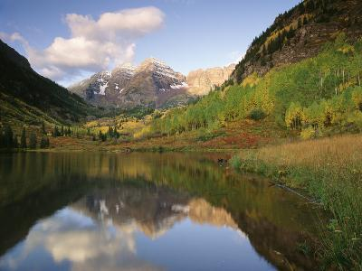 Maroon Bells Reflected in Maroon Lake, White River National Forest, Colorado, USA-Adam Jones-Photographic Print