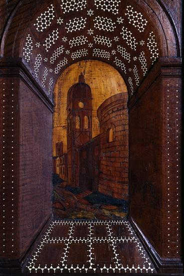 Marquetry Depicting Perspective View of Building, Wood Carving--Giclee Print