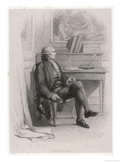Marquis de Condorcet French Philosopher Sitting at His Desk- Nargeot-Giclee Print