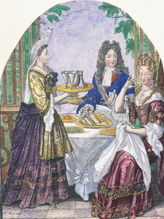 Marquise De Lude at Table-Nicolas Bonnart-Giclee Print
