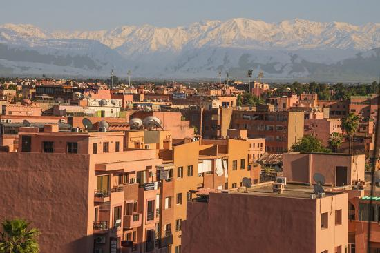Marrakech Panorama, with Atlas Mountains in the Backgroud, Marrakesh, Morocco, North Africa, Africa-Guy Thouvenin-Photographic Print