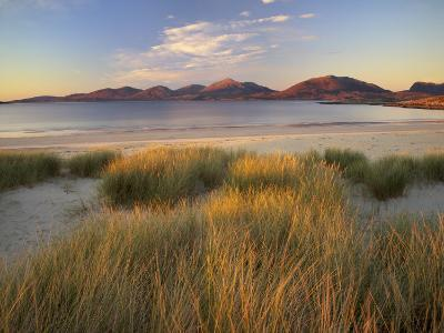 Marram Grass and Beach Near Luskentyre, Towards North Harris Forest Hills, South Harris, Scotland-Patrick Dieudonne-Photographic Print