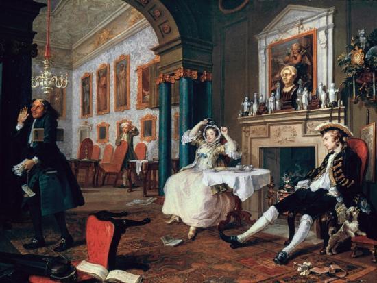 Marriage A-La-Mode: 2, the Tete a Tete, 1743-William Hogarth-Giclee Print