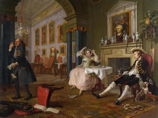 Marriage a La Mode: II - the Tete a Tete, C.1743-William Hogarth-Giclee Print