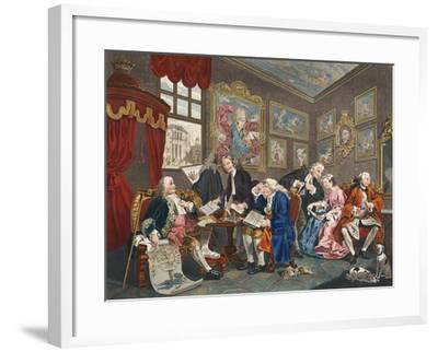 Marriage a La Mode, Plate I, the Marriage Settlement, Illustration from 'Hogarth Restored: the…-William Hogarth-Framed Giclee Print