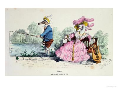 Marriage by the Book, Caricature from Les Metamorphoses du Jour Series, Reprinted in 1854- Grandville-Giclee Print