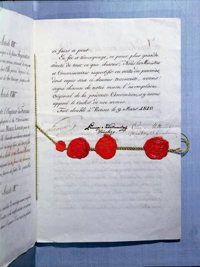 Marriage Contract of Emperor Napoleon Bonaparte and Marie-Louise Vienna, 9th March 1810--Giclee Print