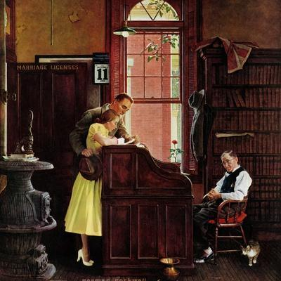 """Marriage License"", June 11,1955-Norman Rockwell-Premium Giclee Print"