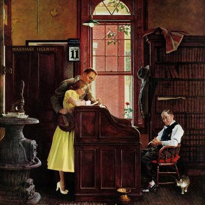 """Marriage License"", June 11,1955-Norman Rockwell-Giclee Print"