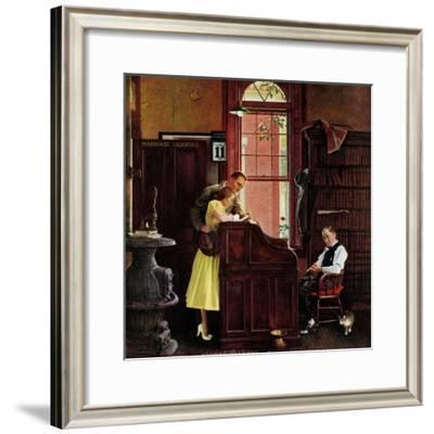 """""""Marriage License"""", June 11,1955-Norman Rockwell-Framed Giclee Print"""