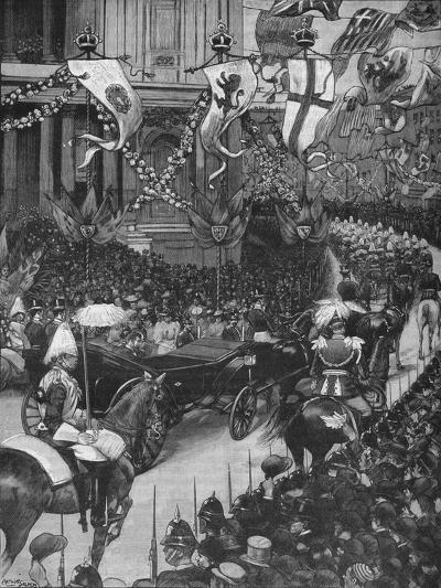 Marriage of the Duke of York: the Royal Procession Passing St Pauls Cathedral, 1893-Arthur Salmon-Giclee Print