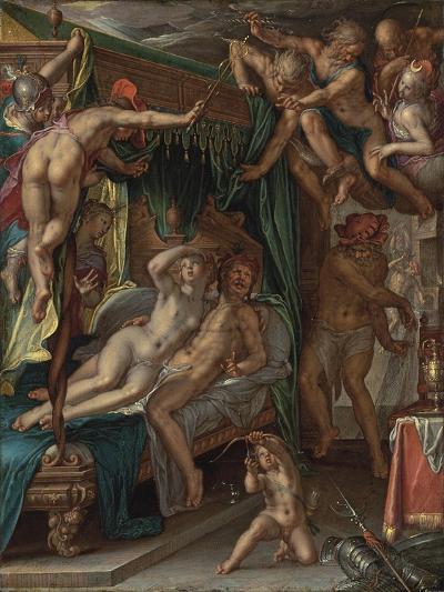 Mars and Venus Surprised by Vulcan-Joachim Wtewael-Giclee Print