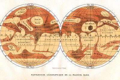 Mars Map From 1881-Detlev Van Ravenswaay-Photographic Print