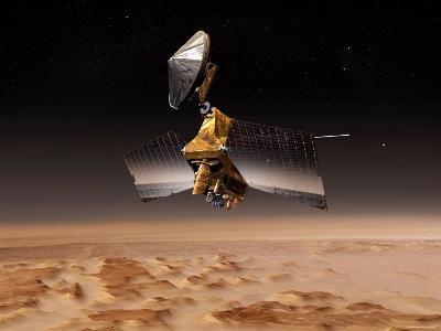 Mars Reconnaissance Orbiter Passes above Planet Mars-Stocktrek Images-Photographic Print