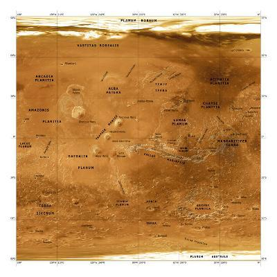 Mars Topographical Map, Satellite Image-Detlev Van Ravenswaay-Photographic Print