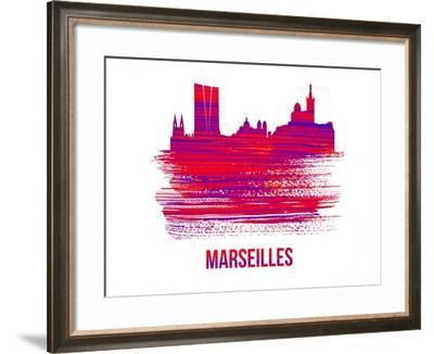 Marseilles Skyline Brush Stroke - Red-NaxArt-Framed Art Print
