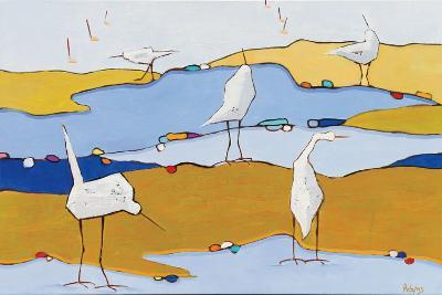 Marsh Egrets VI Dark Sand-Phyllis Adams-Art Print