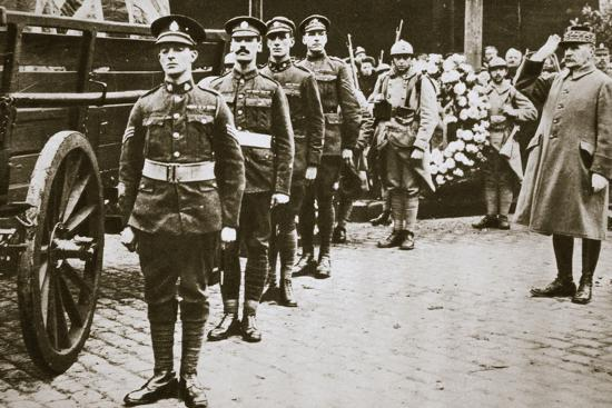 Marshal Foch, French general, saluting the British Unknown Soldier, c1918c1920(?)-Unknown-Photographic Print