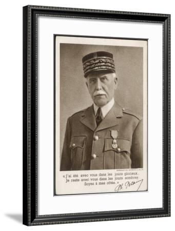 Marshal Philippe Petain a Propaganda Message in 1940--Framed Giclee Print