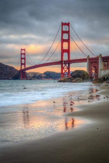 Marshall Beach Sunset and Golden Gate Bridge, California-Vincent James-Photographic Print