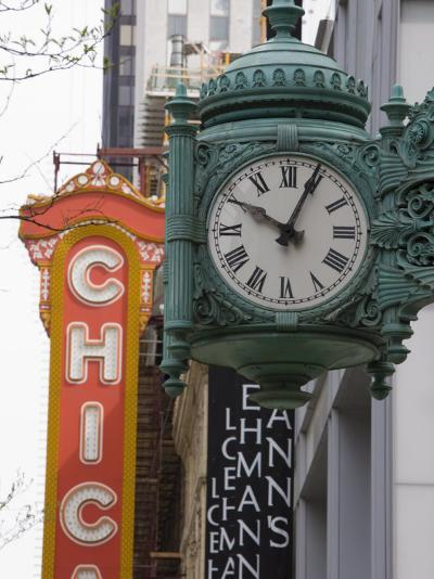 Marshall Field Building Clock and Chicago Theatre Behind, Chicago, Illinois, USA-Amanda Hall-Photographic Print