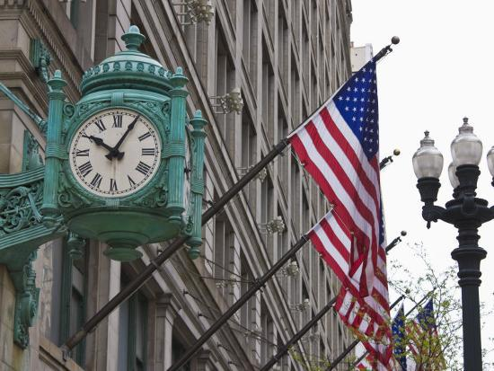 Marshall Field Building Clock, Now Macy's Department Store, Chicago, Illinois, USA-Amanda Hall-Photographic Print