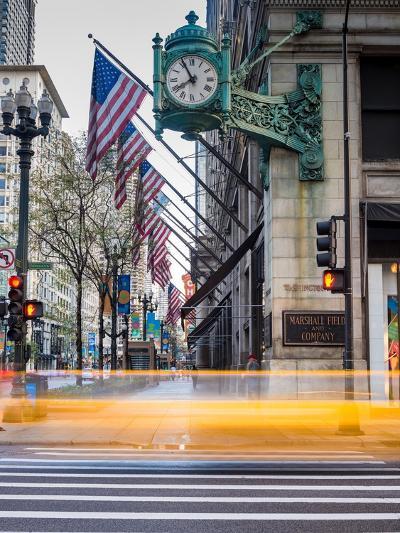 Marshall Field Clock Chicago-Steve Gadomski-Photographic Print