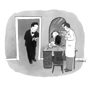 Man in tuxedo waiting for date to finish getting her Botox injection. - New Yorker Cartoon by Marshall Hopkins