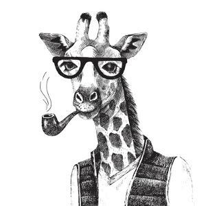 Illustration of Dressed up Giraffe Hipster by mart_m
