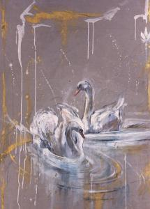 Swans I by Marta Gottfried