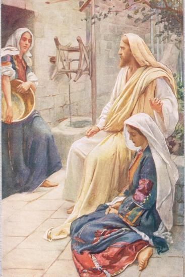 Martha and Mary, Illustration from 'Women of the Bible', Published by the R-Harold Copping-Giclee Print