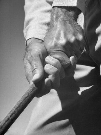 Golfer Ben Hogan Demonstrating Strong Grip for Woods and Irons