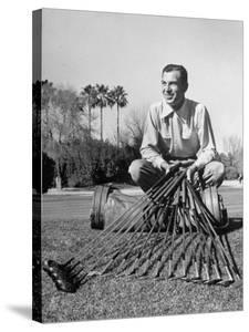 Golfer Ben Hogan with Golf Clubs by Martha Holmes