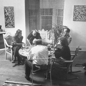 Painter Jackson Pollock Visiting with Guests by Martha Holmes