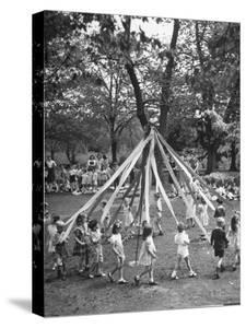 School Children Playing Around the May Pole by Martha Holmes