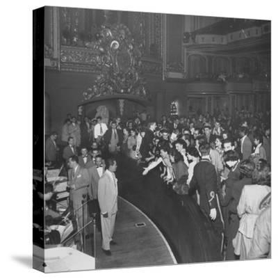 Singer Billy Eckstine in Front of Orchestra and the Members of His Band at the Paramount Theater