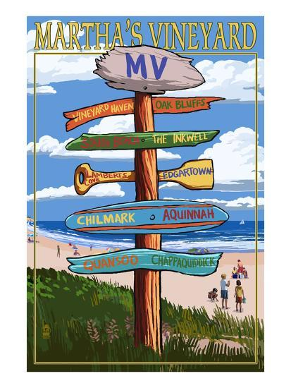 Martha's Vineyard - Destination Sign-Lantern Press-Art Print