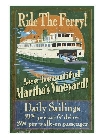 Martha's Vineyard, Massachusetts - Ferry Ride-Lantern Press-Art Print