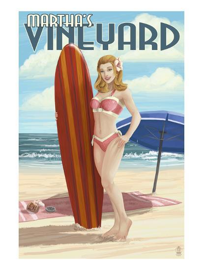 Martha's Vineyard, Massachusetts - Pinup Girl Surfer-Lantern Press-Art Print
