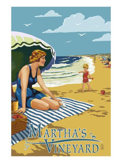 Martha's Vineyard - Woman on Beach-Lantern Press-Art Print