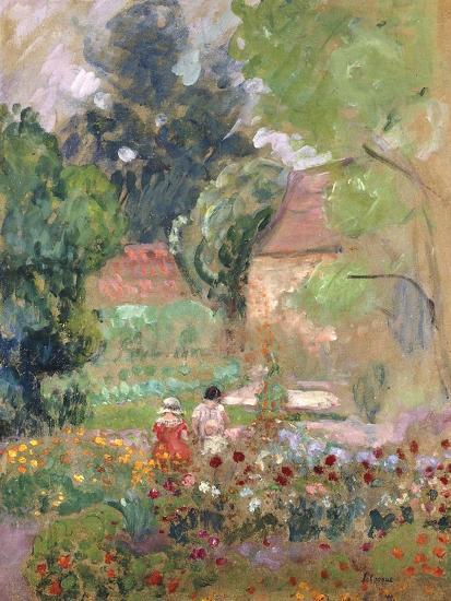 Marthe, Nono and Pierre in the Garden-Henri Lebasque-Giclee Print