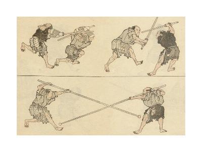 Martial Artists Fighting-Katsushika Hokusai-Giclee Print