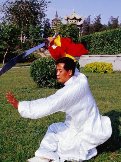 Martial Arts Master Practising Routine in Xihai Park in Tongzhou, Beijing, China-Krzysztof Dydynski-Photographic Print