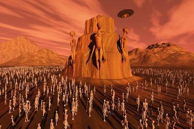 Martians Gathering around a Monument Dedicated to their Ancestors--Art Print