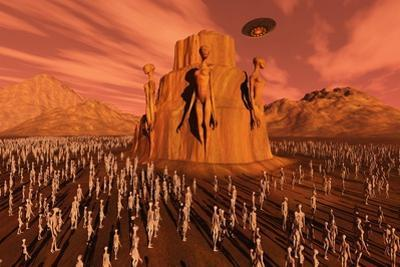 Martians Gathering around a Monument Dedicated to their Ancestors
