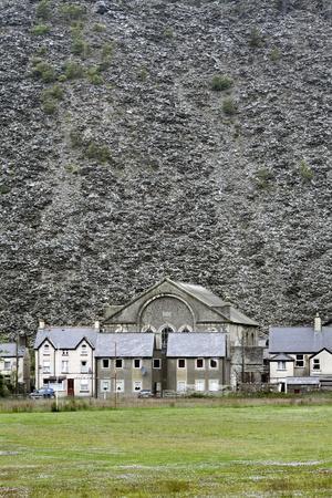 Slate Mine Waste Mountain And Houses