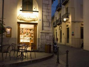 Bar, Piazza Duomo, Evening, Cefalu, Sicily, Italy, Europe by Martin Child