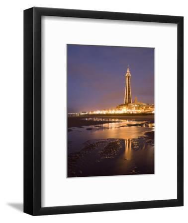 Blackpool Tower Reflected on Wet Beach at Dusk, Blackpool, Lancashire, England, United Kingdom